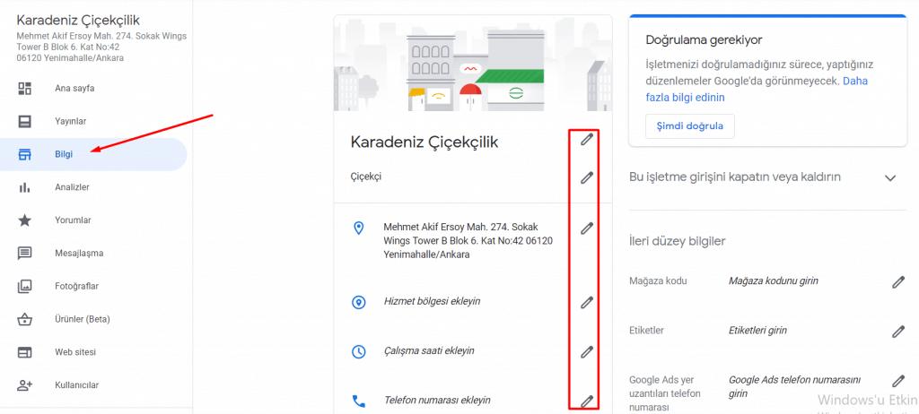 google benim işletmem bilgi ekranı