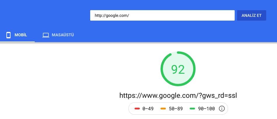 Google Web Site Hız Testi Aracı