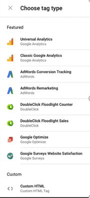 Google Tag Manager Etiket Çeşitleri